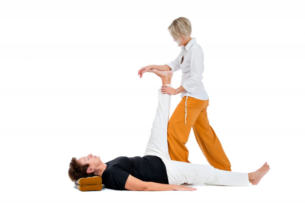 thai massage, stretching on white background